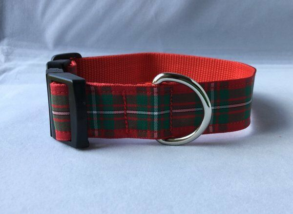 Dog Collar Scottish Douglas Modern Tartan Unique Funky Pet Handmade Plaid Clan