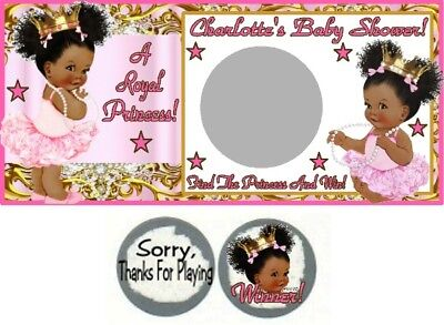 10 Ethnic Afro Puffs Princess Baby Shower Scratch Off Game Cards Baby Shower - Baby Shower Cards