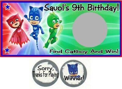 10 PJ Mask Birthday Party Scratch Off Game Cards Tickets Gekko Catboy Owlette - Party Tickets