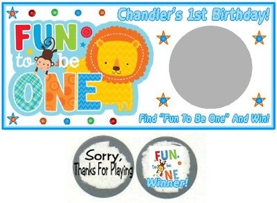 10 Boy It's Fun To Be One 1st First Birthday Party Scratch Off Game Card Monkeys