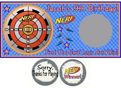 10 Nerf Gun Wars Target Birthday Party Or Baby Shower Scratch Off Game Cards