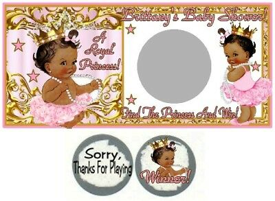 10 Royal Ethnic Princess Baby Shower Birthday Party Scratch Off Game Pink Gold - Princess Baby Shower Games