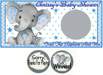 10 Elephant Baby Shower Birthday Party Scratch Off Game Cards Blue Gray Boy - Baby Shower Cards