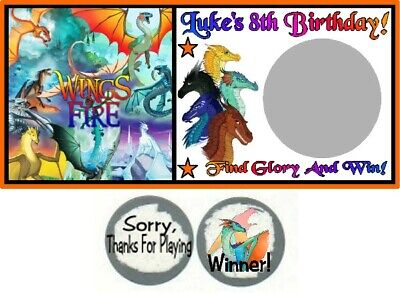 10 Wings Of Fire Dragons Birthday Party Baby Shower Scratch Off Game Cards - Baby Shower Cards