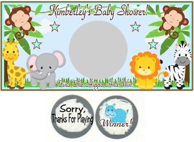 10 Jungle Safari Animals Birthday Party OR Baby Shower Scratch Off Game Cards - Baby Shower Cards