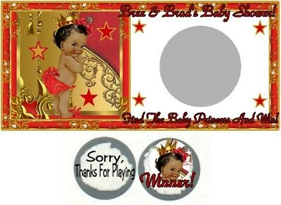 10 Royal Ethnic Princess Baby Shower Birthday Party Scratch Off Game Red Gold - Royal Princess Birthday Party