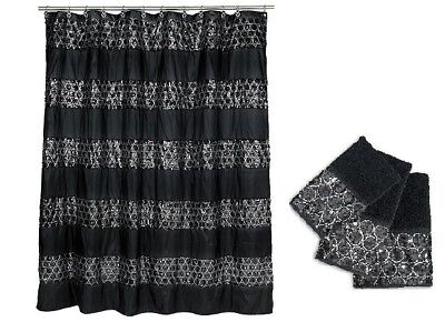 Popular Bath Sinatra Black Shower Curtain and 3 Piece Towel Set 3 Piece Bath Shower