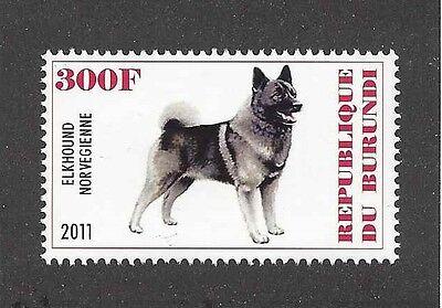 Dog Art Body Study Portrait Postage Stamp NORWEGIAN ELKHOUND Burundi 2011 MNH