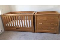 Mamas and papas full nursery set cot, dresser, wardrobe and tall boy