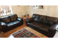 2 & 3 seater brown leather corner sofa can deliver