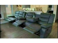 💥PRICE DROP SALE CHELSEA BONDED LEATHER RECLINERS WITH CUP HOLDER 3+2 S CORNER CHEAP BARGAIN