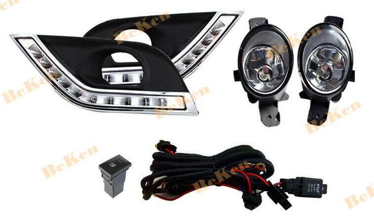 Led Drl Fog Light Kit W   Wiring Switch Bezel For Nissan