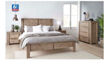 Queen Bed & Mattress, Tallboy, 2 nightstands, less than 6mo old!