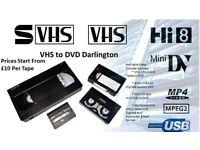VHS,8mm,Mini Dv & Vhs-C to DVD Darlington