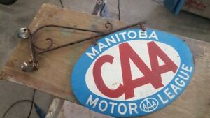 Double Sided Old CAA Manitoba Sign & Original Pole Bracket