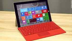 New Surface 3 w/ Bright Red Keyboard + Tempered Glass Protector