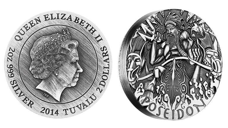 2014 POSEIDON Gods of Olympus 2 OZ  Coin Perth Tuvalu Silver Coin VERY RARE COIN