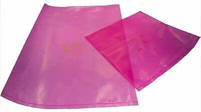 "100 x Pink AntiStatic Bags 10"" x 14""  or  8""x8"" 400 gauge , PE Plastic Quality"