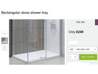 slim-line shower tray - WHITE - from Victoria plum