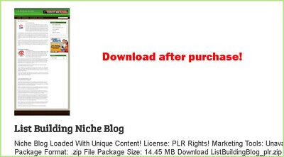 List Building Niche Blog - Download After Purchase