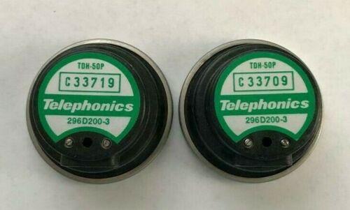 NEW! AUDIOMETER TELEPHONICS EARPHONES, TDH 50P 60 OHM MATCHED PAIR