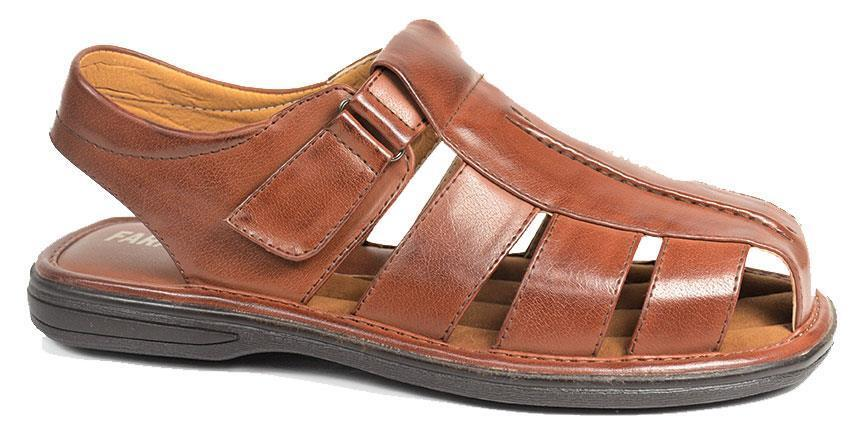New Faranzi Men's Casual Summer Fisherman Cognac Sandals 81670