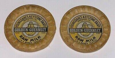 2 Vintage, YOUNGDAHL'S KEYSTONE DAIRY, Milk Bottle Caps