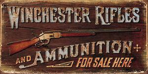 Winchester-RIFLES-Vendido-Aqui-signo-Reproduccion-Vintage-Letrero-juegos