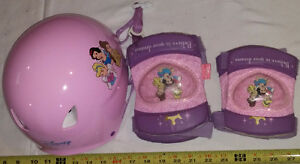 Disney Pink /Purple Princess Helmet & Matching Elbow / Knee Pads