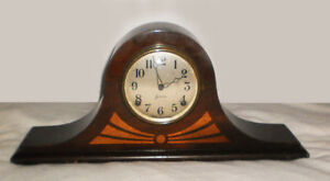 SESSIONS MANTLE CLOCK INLAY NO. 2 VINTAGE ART DECO WITH KEY
