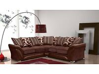 wow offer::: few sets left::: SHANNON CORNER & 3 + 2 SEATER GREY / BLACK FABRIC FAUX LEATHER SOFA