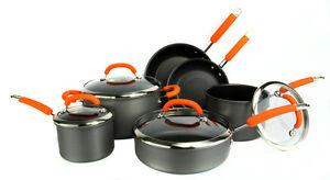 NEW-Rachael-Ray-10-Piece-Hard-Anodized-Cookware-Set-Nonstick-Pots-Pans-Orange