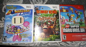 Wii games..can be played in Wii U..Mario, Bomberman, Donkey Kong