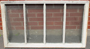 Antique Wood Framed 4 Pane Window