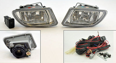 JDM Clear Front Fog Lights Pair RH LH w/ Switch Wiring for Honda Odyssey 99-04