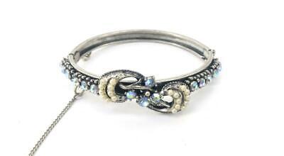 Vtg Florenza AB Rhinestone & Faux Pearl Silvertone Hinged Bangle Cuff Bracelet