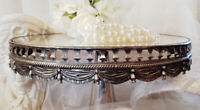Vintage Silver Plated Mirror Top Pedestal Cake Plate Stand