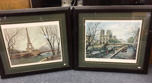 TWO FRAMED PARIS PRINTS PICTURES ARTWORK HOME DECOR
