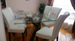 Glazed  dining table with 6 chairs