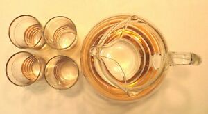 Collectible Clear & Gold Band Glass Ball Pitcher & 4 Highball Gatineau Ottawa / Gatineau Area image 3