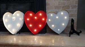 Marquee hearts with lights - Wedding / Shower / Valentines