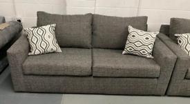 2 x 3 seater grey fabric sofas