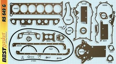 Jeep 230 SOHC Full Engine Gasket Set/Kit BEST Head+Intake+Oil Pan+Exhaust 62-65