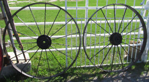 Antique Iron Wagon Wheels 44 Inches in Diameter 2 Available