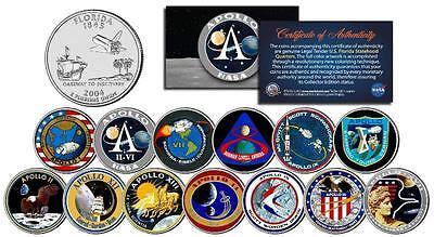 APOLLO SPACE MISSIONS Colorized FL Quarters 13-Coin Complete Set NASA PROGRAM