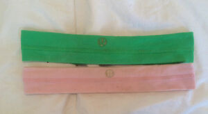 2 Lululemon headbands- pink & green