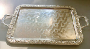 Elegant Brass, Silver-plated Serving Tray