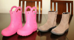 Girls Geox Suede Boots and Crocs Rain Boots