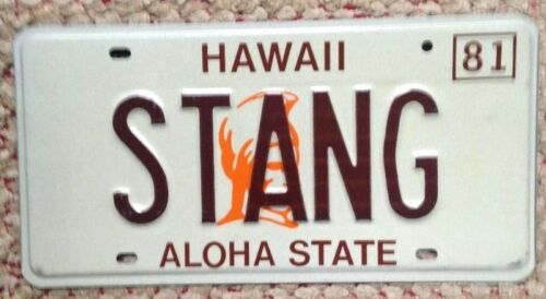 HAWAII VANITY PERSONALIZED LICENSE PLATE STANG MUSTANG CLASSIC MUSCLE CAR FORD
