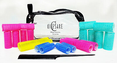 Dicesare hair styling system 24 small rollers comb bright colors brand new w bag